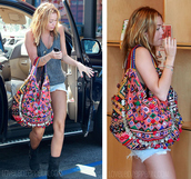 miley cyrus,multicolor,colorful,bag,tank top,clothes,fringed bag,school bag,celebrity style,celebrity,boho bag