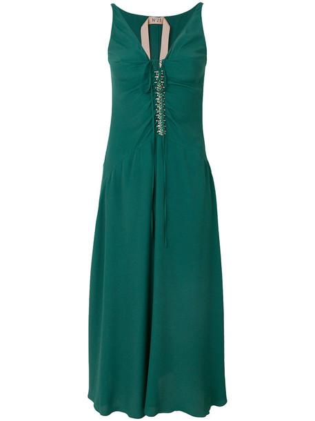 No21 dress women embellished silk green satin