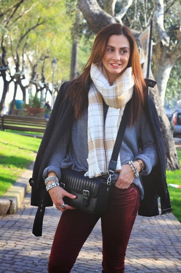 marie zamboli pants coat bag sunglasses shoes jewels scarf
