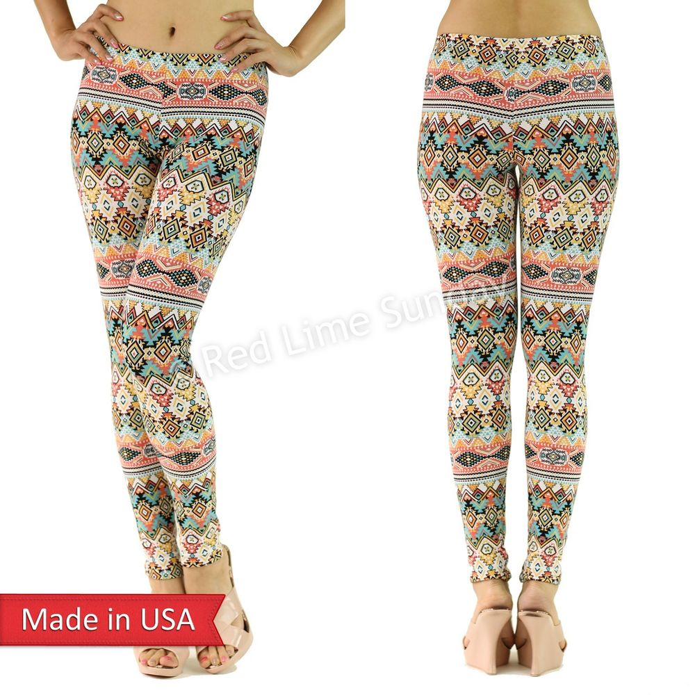 Women Candy Color Aztec Tribal Geometric Print Cotton Leggings Tights Pants USA