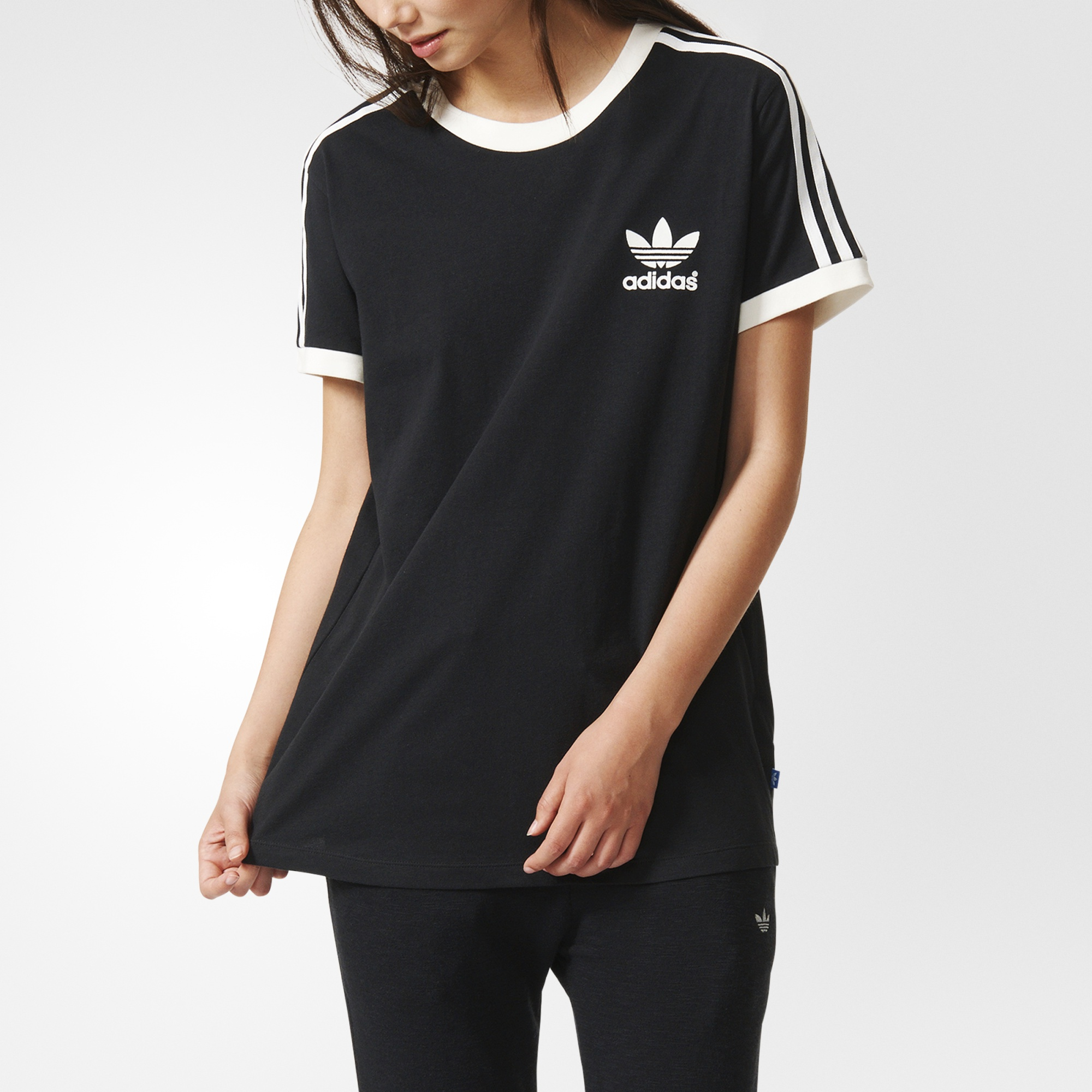 Adidas women 39 s 3 stripes tee black adidas canada for Womens black tee shirt