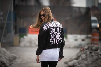 jacket customised leather jackets black leather jacket leather jacket black jacket t-shirt white t-shirt sunglasses black sunglasses the blonde salad chiara ferragni top blogger lifestyle blogger streetstyle customized
