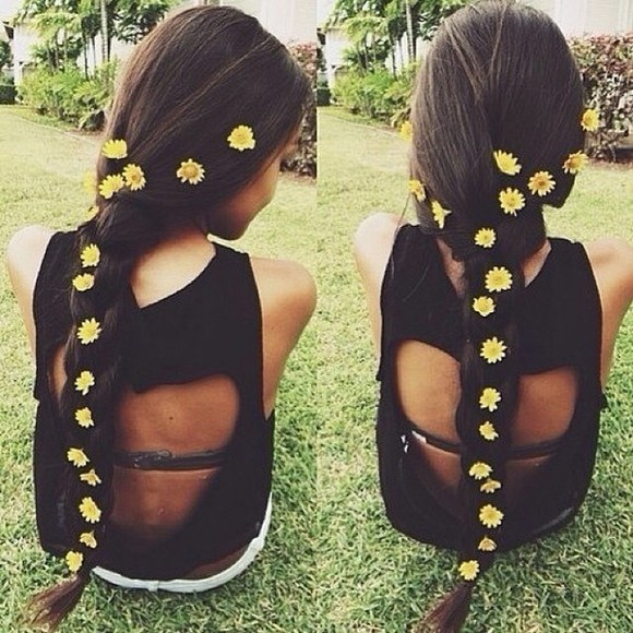 shirt heart black tank top summer daisies spring cut-out tumblr tank top black
