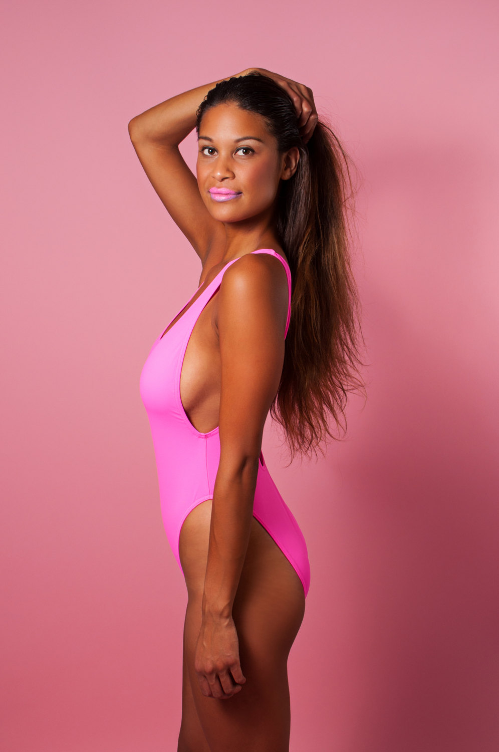 80's inspired high cut swimwear ∆ new ∆ neon pink 80's swimsuit ∆ 90s one