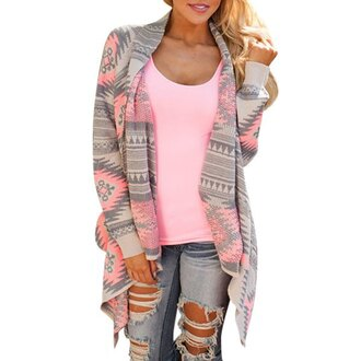 cardigan kimono grey neon pink fashion trendy long sleeves pattern casual geometric print long sleeve asymmetric cardigan for women asymmetrical