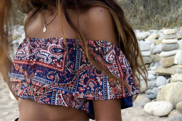top hippie top summer outfits blouse swimwear boho off the shoulder crop tops paisley top boho chic boho top boho necklace bohomiam style tribal pattern aztec crop top floral top summer top off the shoulder top hippie indie hippie chic boho shirt gypsy indie boho indie dress hippie gypsy fashion style
