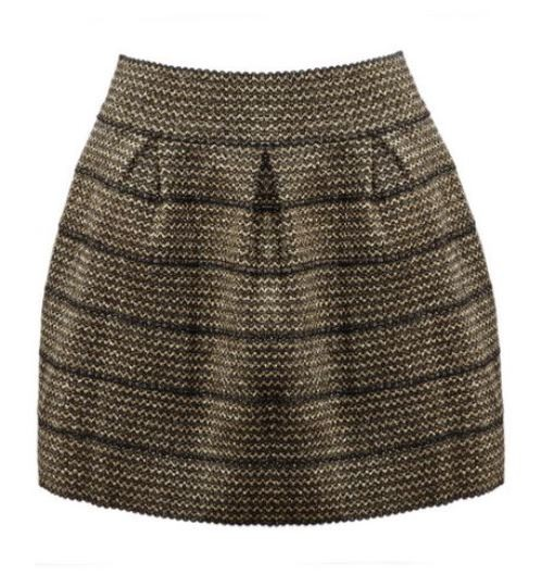 Black and Gold Zipper Striped Skirt