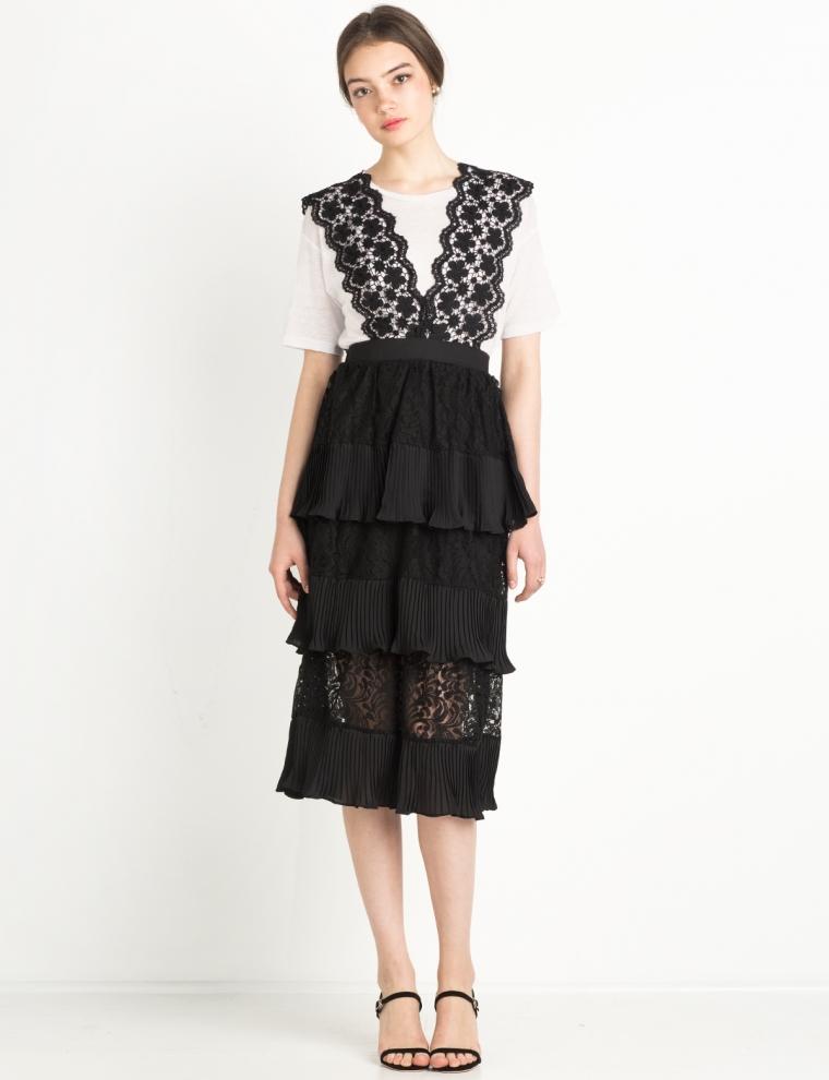 Black Lace Tiered Suspender Midi Skirt