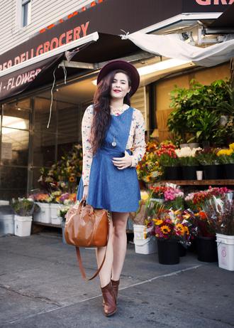 noelles favorite things blogger blouse shoes bag hat jewels denim dress