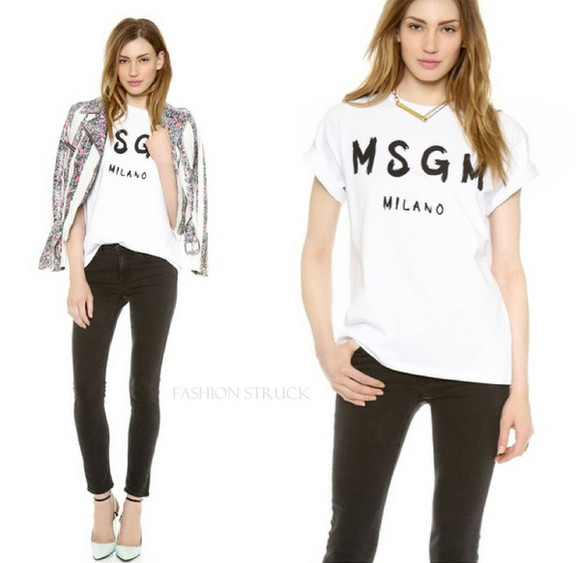 top white tee msgm milano t-shirt casual chic milano blogger blogger fashion