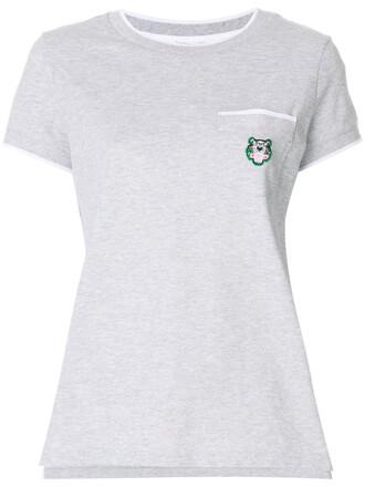 t-shirt shirt embroidered women cotton grey top