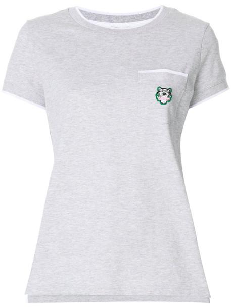 Kenzo t-shirt shirt t-shirt embroidered women cotton grey top
