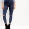 Dark blue high waisted ripped knee skinny jeans | new look