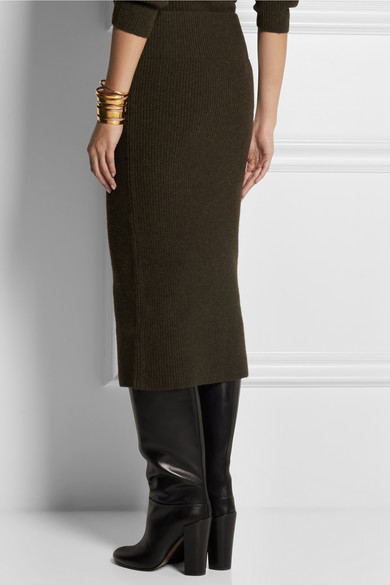 Lemaire | Ribbed yak and merino wool-blend midi skirt | NET-A ...