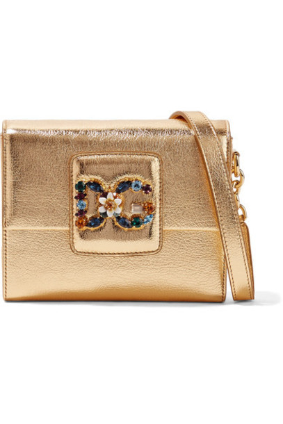 Dolce & Gabbana metallic embellished bag shoulder bag gold leather