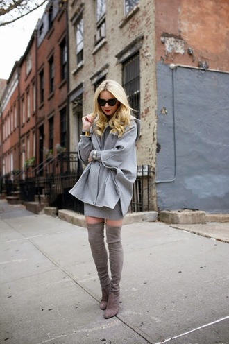 atlantic pacific blogger sunglasses blonde hair grey coat sweater dress thigh high boots winter outfits suede boots mini knit dress grey knit dress boots grey boots