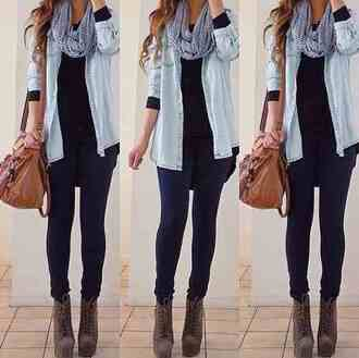 bag jacket jeans scarf shoes blue shirt