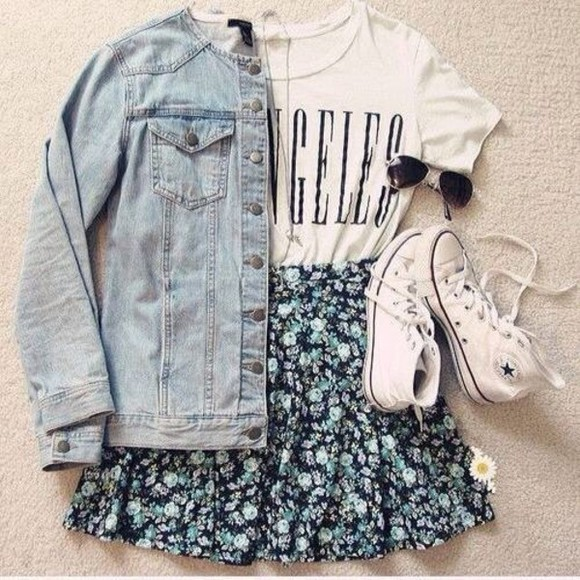 skirt floral floral skirt blue skirt blue t-shirt floral, cute, spring, summer shoes jacket