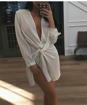 dress,white,mini dress,plunge v neck,white dress,long sleeves