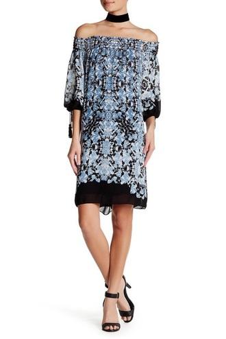 dress off the shoulder dress printed dress