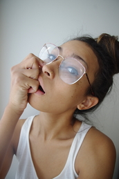 sunglasses,glasses,bun,tank top,nose ring,freckles,pretty,cute,girly,black,hite,weheartit,tumblr,outfit,ootd,sneakers,nike,hair,gold,jewels