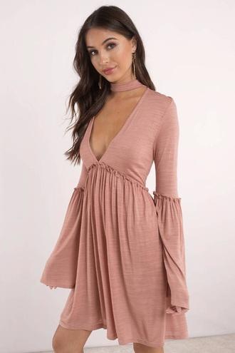 dress flowy dress chocker dress pink ruffle v neck