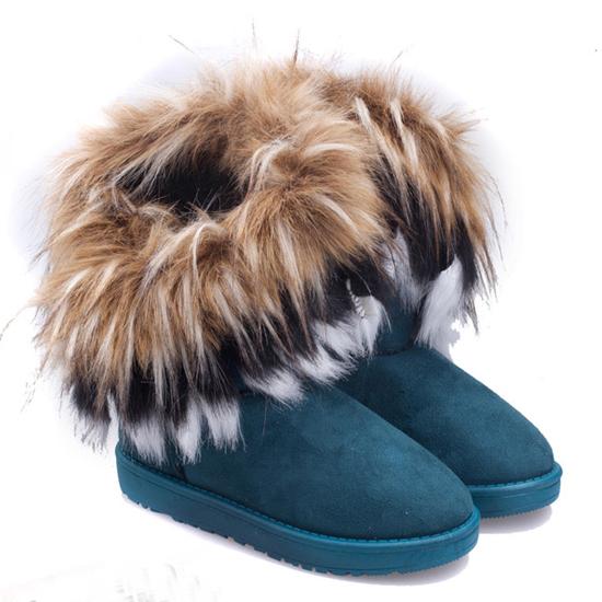 Luxury Comfortable Round Toe Fur Flat Heel Snow Boots: BagsQ.com