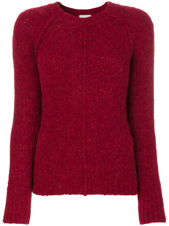 sweater women spandex wool knit red