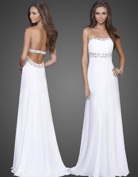White Strapless Evening Party Long Dress - Juicy Wardrobe