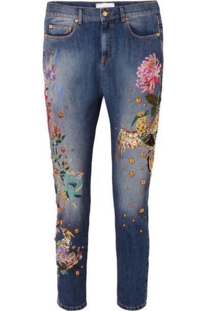 Zuhair Murad jeans boyfriend jeans embroidered boyfriend embellished blue