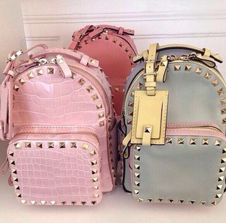 bag backpack snake print lux girly studs pink bag style stylish pastel bag pastel pink