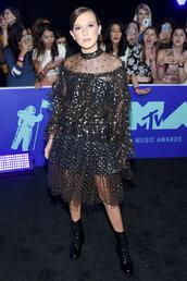 dress,millie bobby brown,boots,vma,mtv,lace dress,polka dots,skirt,top