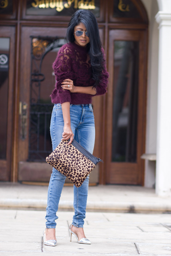 walk in wonderland t-shirt jeans shoes bag leopard print burgundy burgundy sweater cute sweater