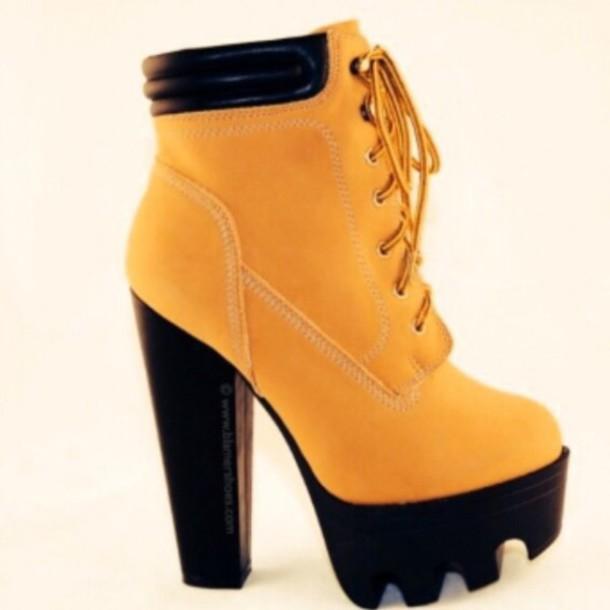 platform timberland heels boots