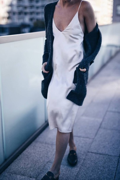 273f1313478 dress tumblr midi dress slip dress silk slip dress white dress white slip  dress loafers slide
