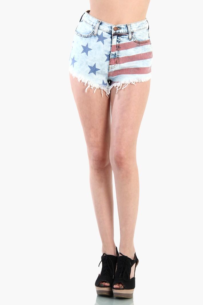 American Flag Print Cutoff Shorts