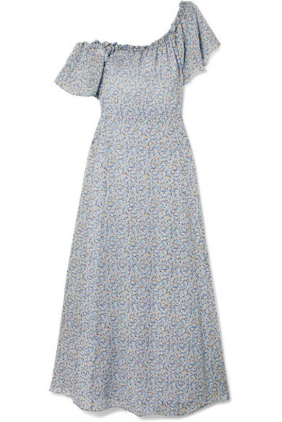 LoveShackFancy - Evelyn One-shoulder Ruffled Printed Silk-georgette Maxi Dress - Light blue