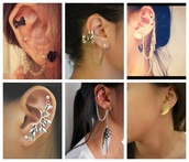 jewels,earrings,ear cuff,chain,feathers,bow,wings,leaves