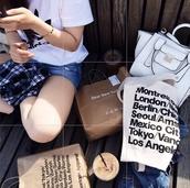 bag,pale,modern,girl,minimalist,white,black,american apparel