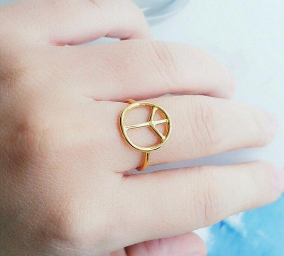 Gold Peace Ring - Silver Ring - Minimalist Ring - Dainty Rings - Peace Sign Rings