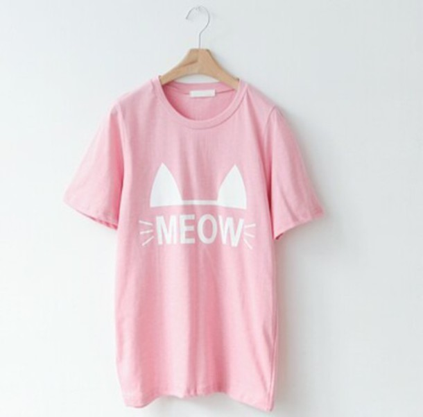 Shirt: cats, pastel, pastel pink, meow, oversized t-shirt, cat ...