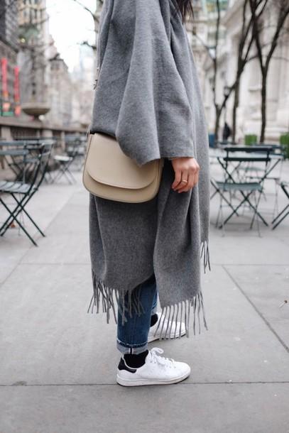 c298537de710 bag grey pancho white sneakers adidas shoes blue jeans mansur gavriel  crossbody bag pancho