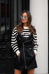 dress,leather dress,mini dress,black dress,sweater,striped sweater,stripes