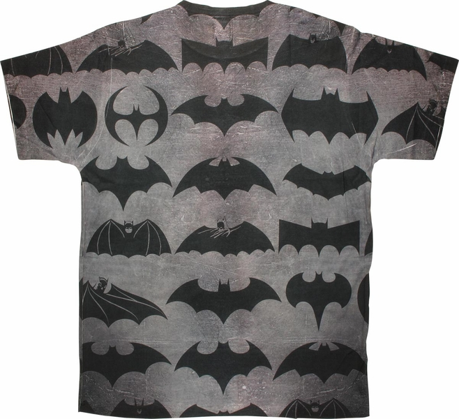 Batman 75 Years Logos Two Side Sublimated T Shirt Sheer