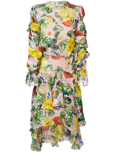 dress women floral silk satin