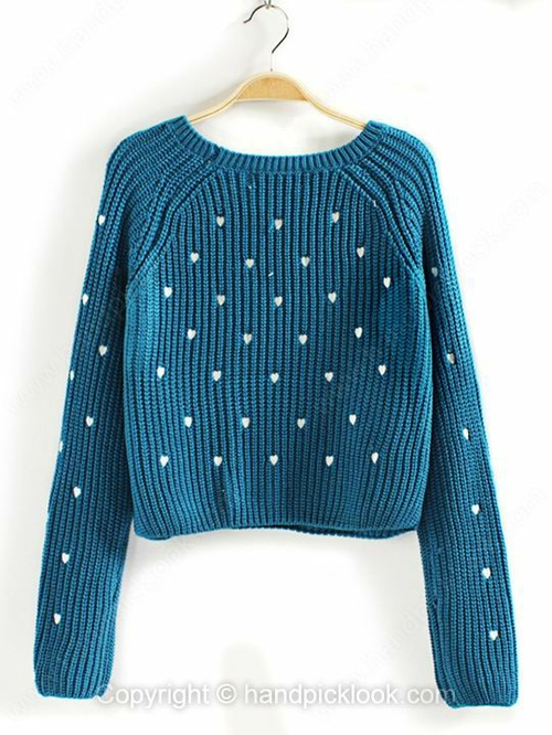 Blue Round Neck Long Sleeve Heart Pattern Sweater - HandpickLook.com