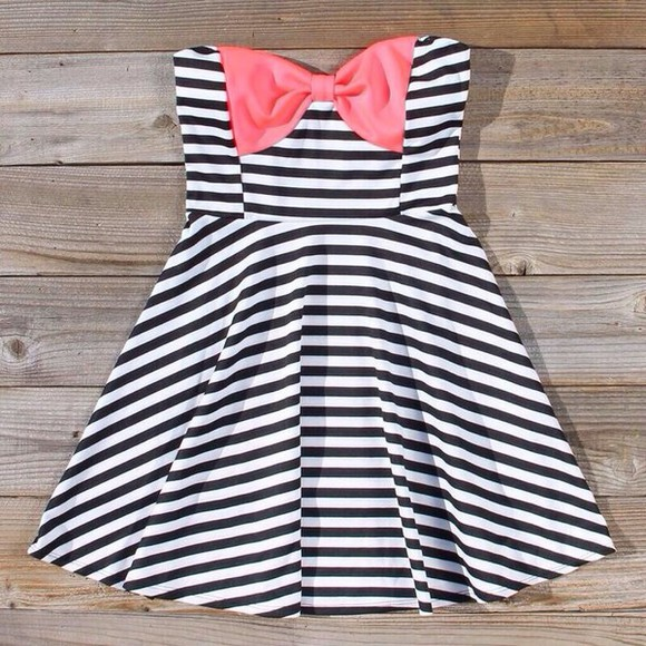 dress strapless summer cute casual stripes preppy bow cruise casual dress