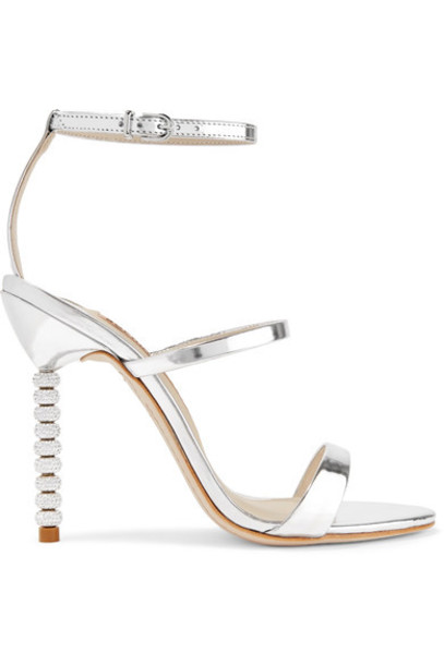 Sophia Webster - Rosalind Crystal-embellished Metallic Leather Sandals - Silver