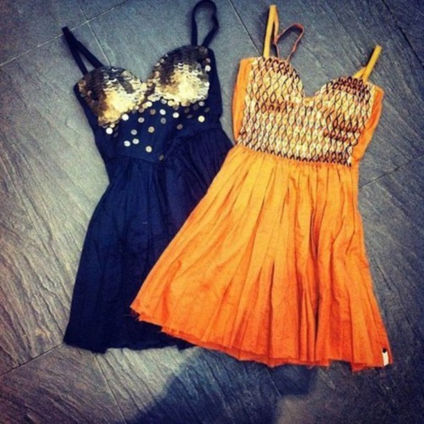 dress orange dress little black dress gold sequins tribal print