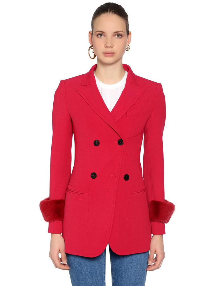 FENDI Stretch Wool Drill Blazer W/ Mink Fur in red